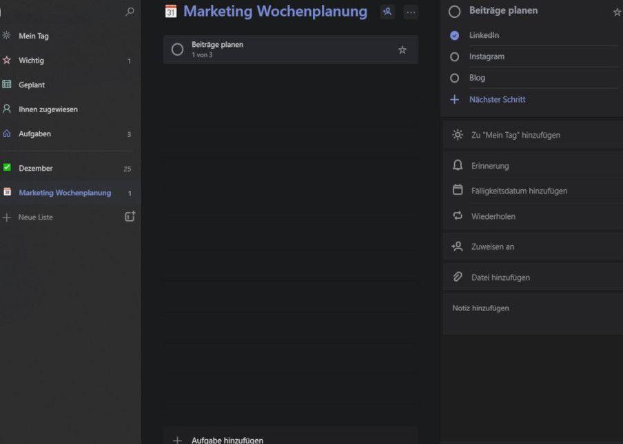 Ein Screenshot zeigt, wie in der Desktop-Ansicht von To Do verschiedene Unteraufgaben in Aufgaben erstellt werden können.