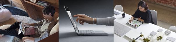 Drei Bilder zeigen Personen die per Touch an Surface-Geräten arbeiten.