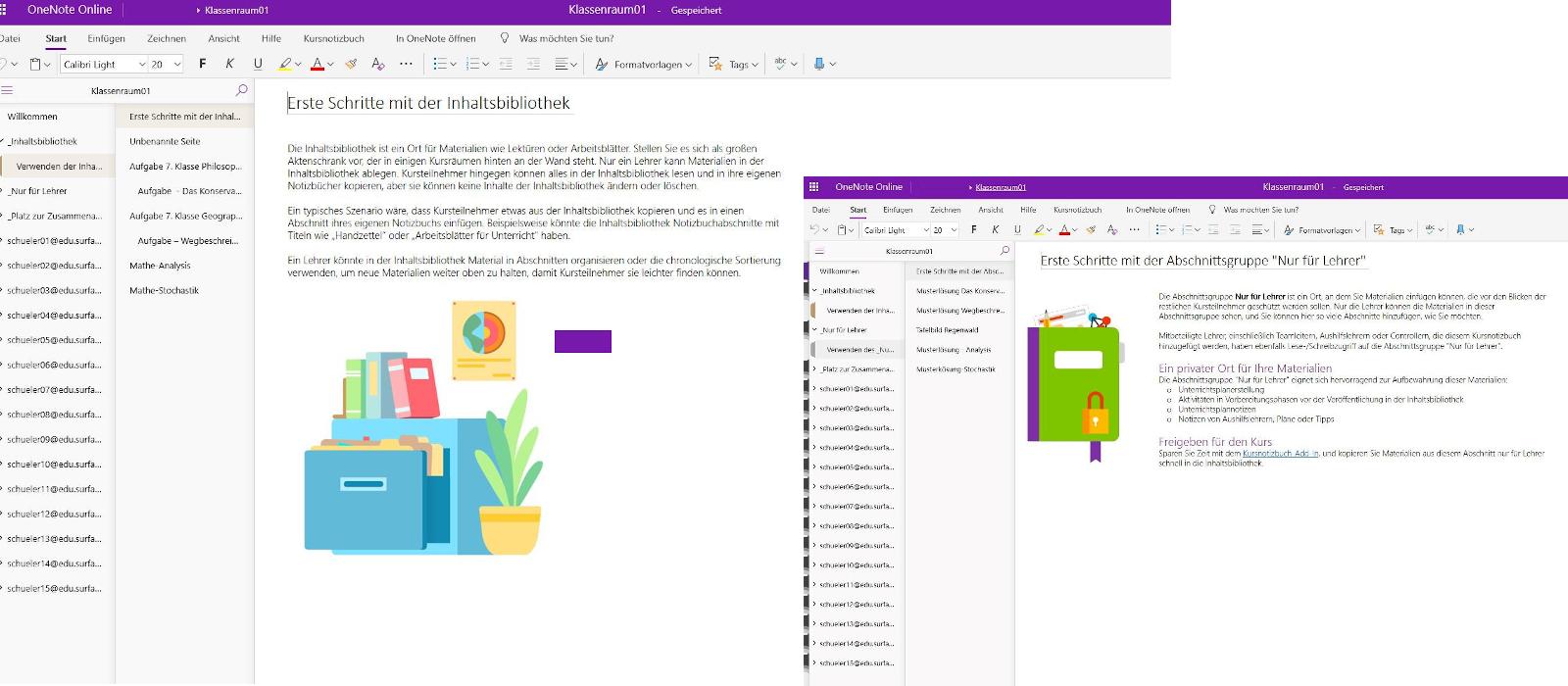 Zwei Desktopfenster zeigen verschiedene Anwendungsbeispiele in OneNote