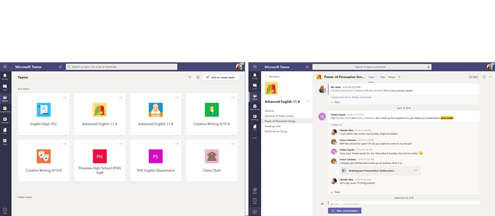 Zwei Desktopfenster zeigen Teams- und Chatfunktionen in Microsoft Teams