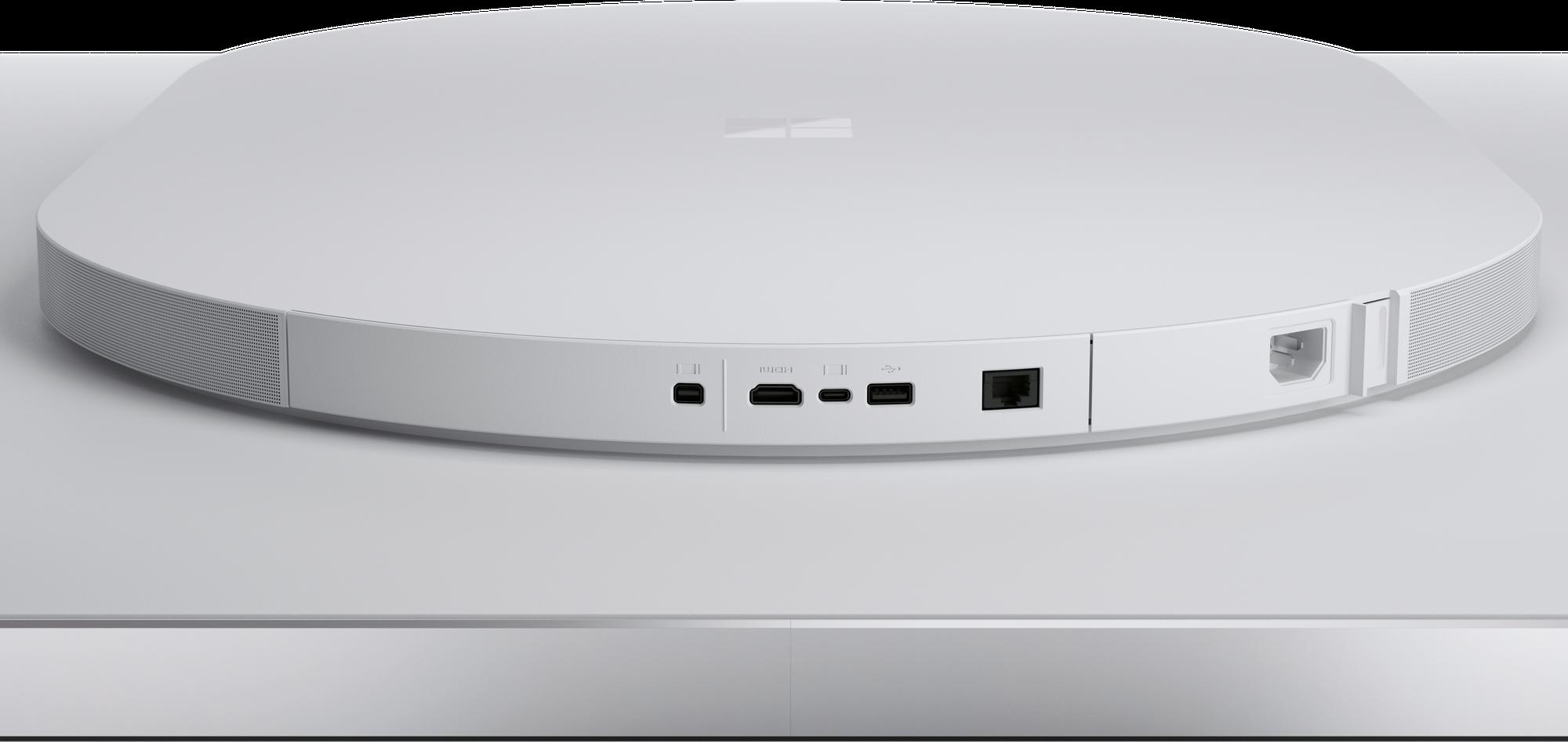 Die verschiedenen Anschlüsse des Surface Hub 2S 85-Zoll in einer Seitenansicht