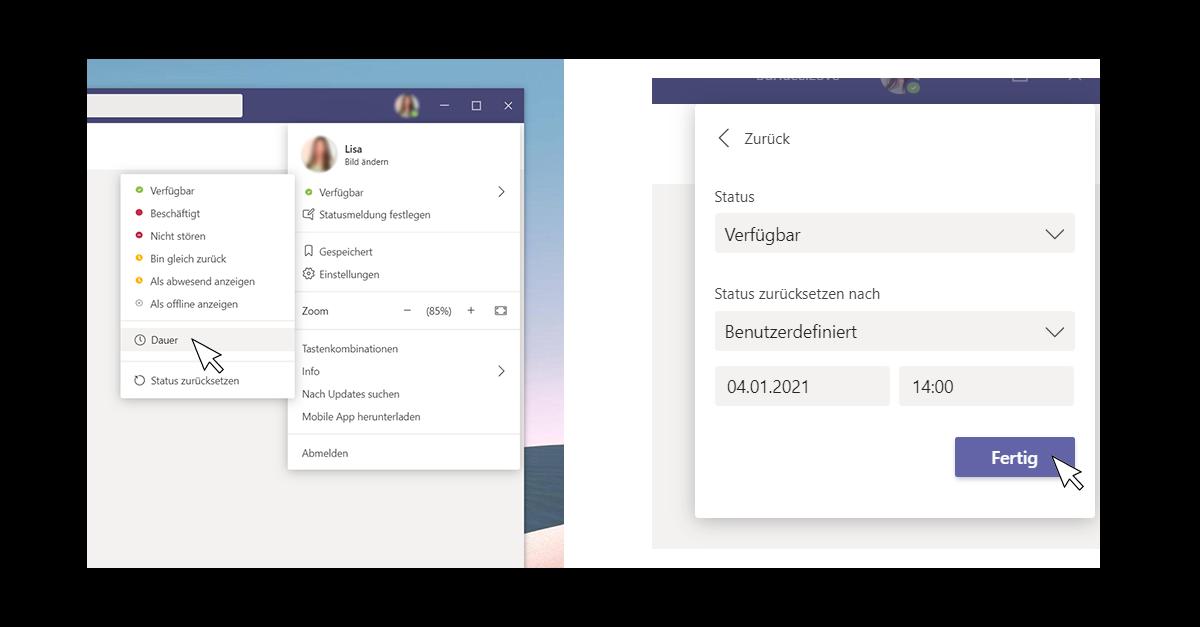 Screenshots von der Anwendung Microsoft Teams die die Einstellung der Verfügbarkeit für einen bestimmten Zeitraum zeigen