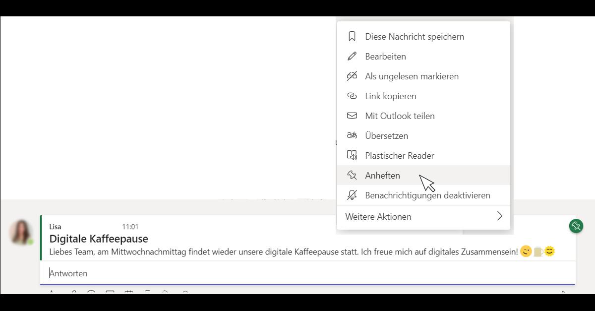 Screenshots von der Anwendung Microsoft Teams die die Fixierung eines Beitrags in Microsoft Teams zeigen