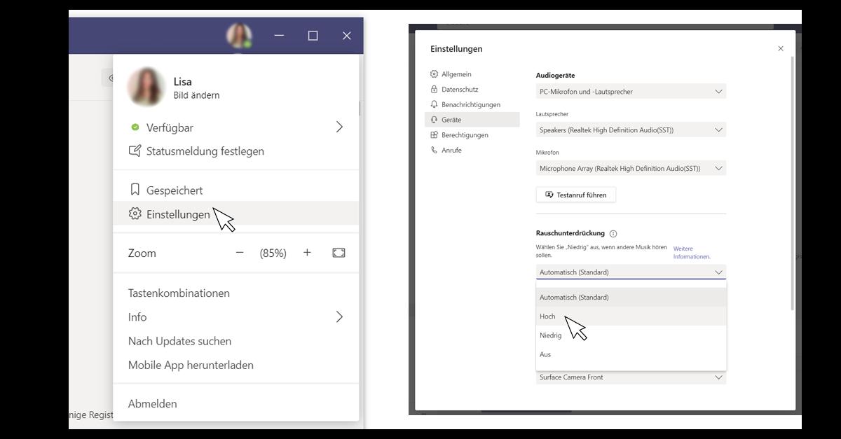 Screenshots von der Anwendung Microsoft Teams die die Einstellung der Geräuschunterdrückung bei Meetings zeigen
