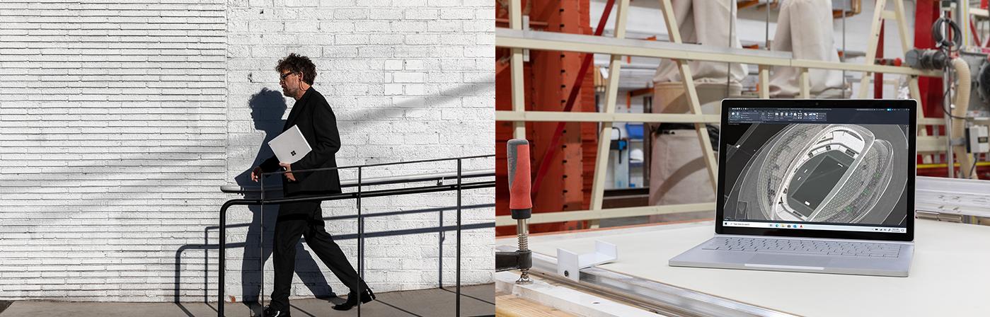 Ein Mann läuft und hält ein Surface Book 3 unter seinem Arm. In einer Werkstatt steht ein Surface Book 3 auf einem Tisch.