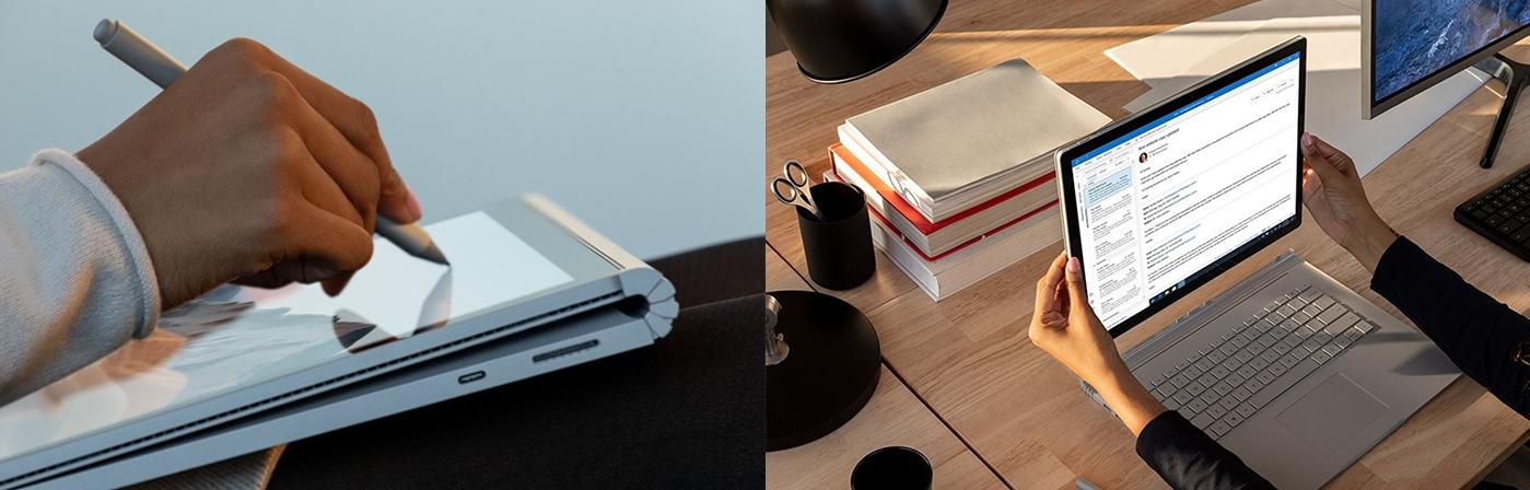 Eine Person zeichnet mit dem Surface Pen auf dem Surface Book 3. Eine weitere Person löst den Bildschirm des Surface Book 3 von der Tastatur.