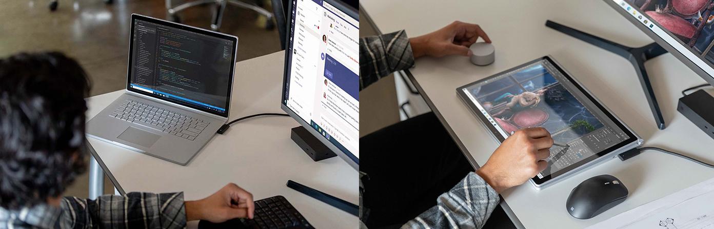 Eine Person hat das Surface Book 3 mit einem Bildschirm verbunden und arbeitet auf im Laptop und Tablet-Modus an dem Gerät.