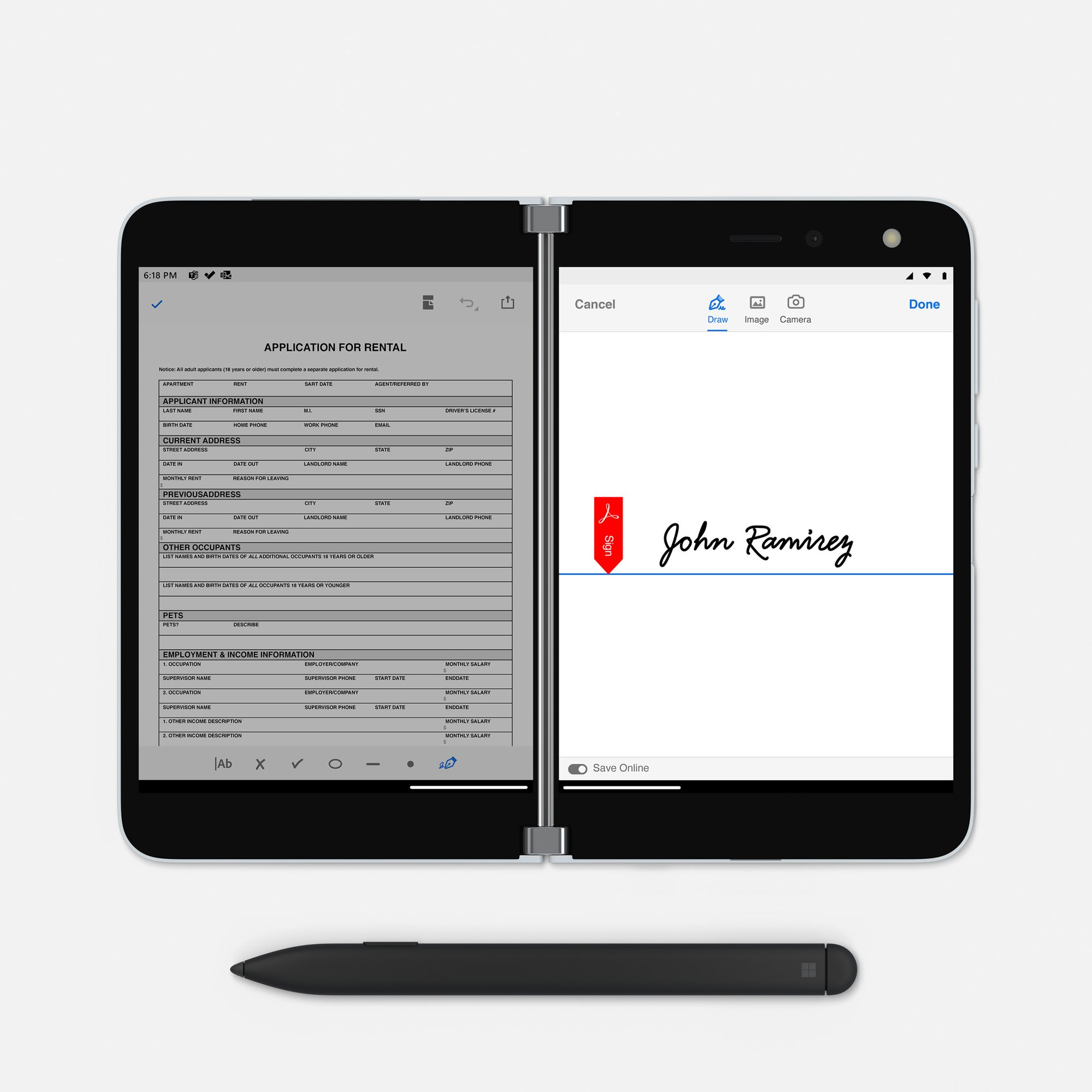 The Surface Duo in Book Mode displays a PDF document on the left screen while a signature is displayed on the right screen and a Surface Slim Pen is placed underneath the Surface Duo