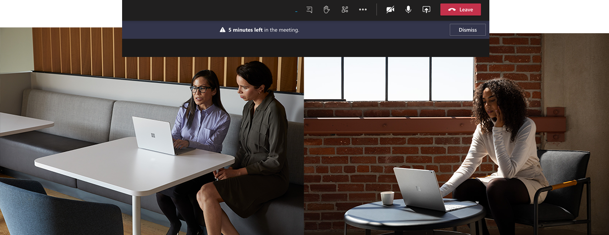 At the top of the picture, you can see the reminder in Microsoft Teams. On the left picture you can see two people working on a Surface Laptop. On the right picture, one person is working on the Surface Book.