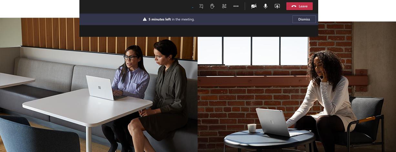 Oben auf dem Bild ist die Erinnerung in Microsoft Teams zu sehen. Auf dem linken Bild sieht man zwei Personen, die an einem Surface Laptop arbeiten. Auf dem rechten Bild arbeitet eine Person an dem Surface Book.