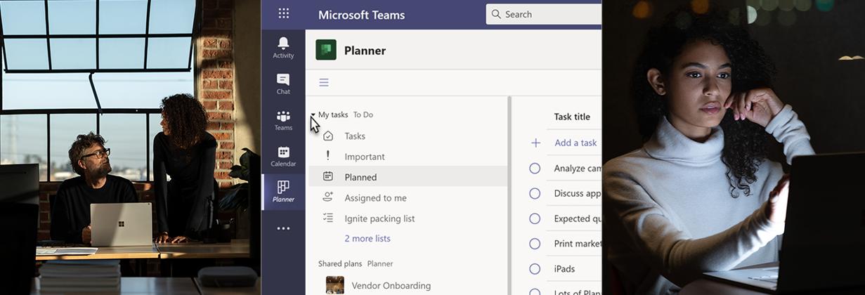 In der Mitte auf dem Bild sieht man einen Ausschnitt des Planners in Microsoft Teams. Links sieht man zwei Personen, die an einem Surface Book arbeiten. Rechts sieht man eine Person die an einem Surface Book arbeitet.