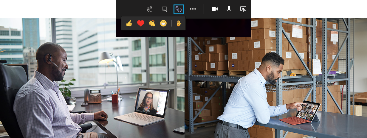 In der Mitte auf dem Bild sieht man einen Ausschnitt der Reaktionen einer Besprechung in Microsoft Teams. Links sieht man eine Personen die an einem Surface Book arbeiten. Rechts sieht man eine Person die an einem Surface Pro arbeitet.