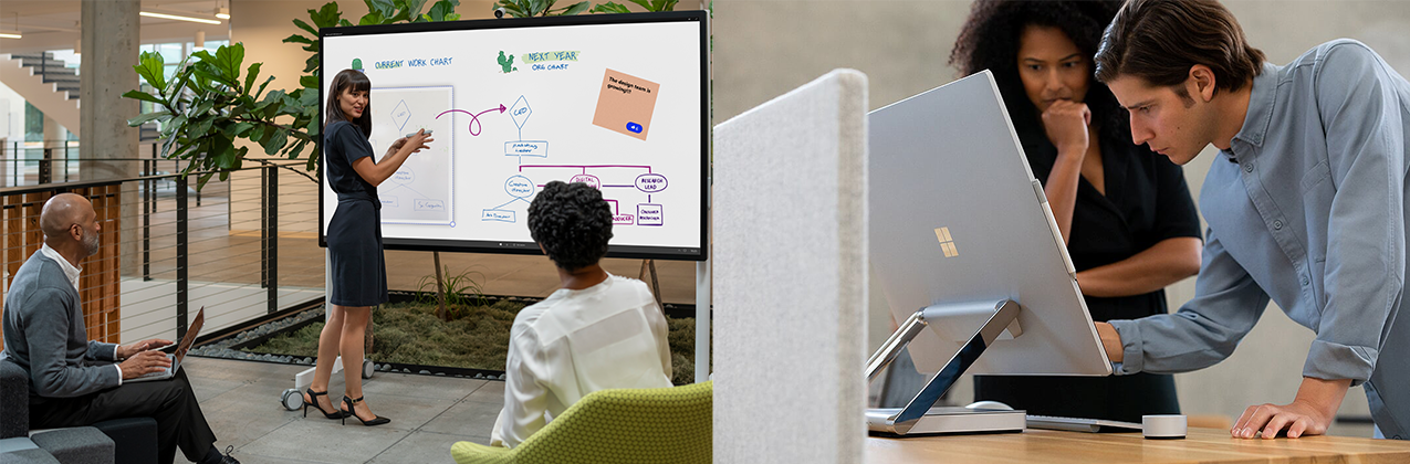 A women is presenting on the Surface Hub 2 in front of two people. A man is working at the Surface Studio 2 while a women is watching him.