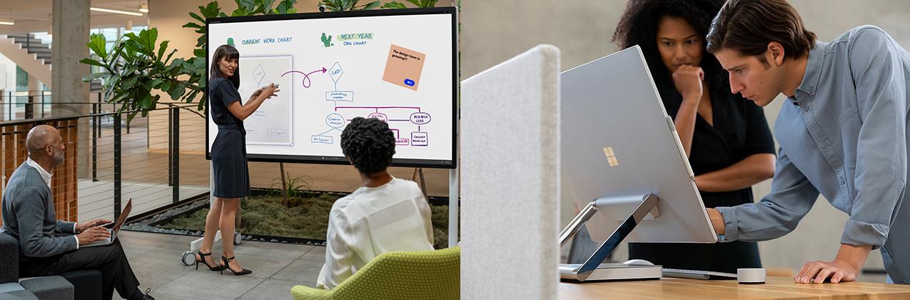 Eine Frau präsentiert am Surface Hub 2 vor zwei Personen. Ein Mann arbeitet am Surface Studio 2, eine Frau schaut ihm zu.