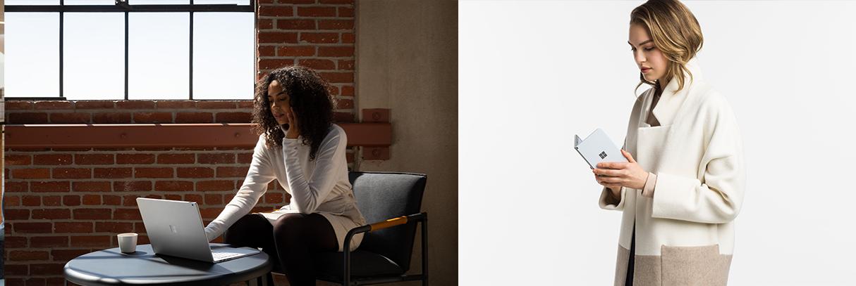 Eine Frau arbeitet am Surface Book 3, eine andere Frau schaut auf das Surface Duo in Ihren Händen.