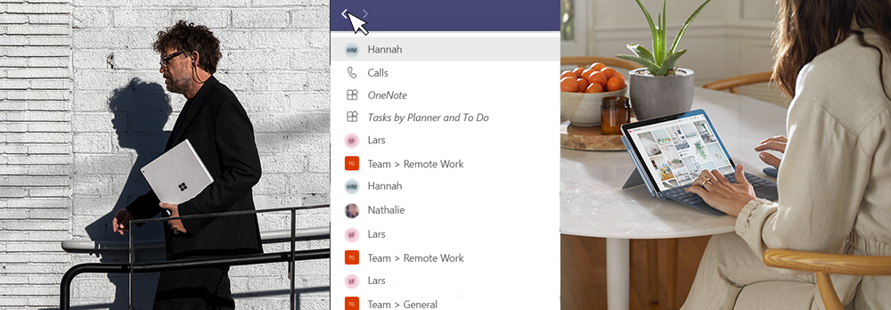 In the middle of the picture, you can see a section of the history in Microsoft Teams. On the left, you can see someone holding a Surface Laptop. On the right, you can see a person carrying a Surface Laptop.