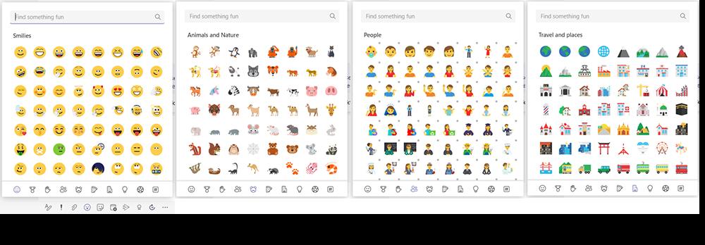 Vier Screenshots zeigen die eine Auswahl der neuen Emojis in Microsoft Teams