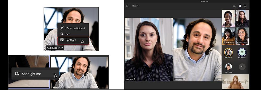 Zwei Screenshots zeigen die Einstellungen für das Aktivieren der Spotlight-Funktion