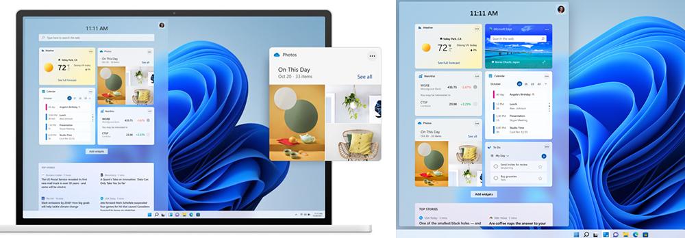 Zwei Screenshots die Widgets auf dem Startbildschirm eines Laptops mit dem Betriebssystem Windows 11 zeigen