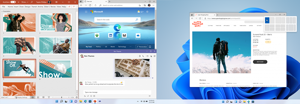 Two screenshots of different arrangements of content on one screen