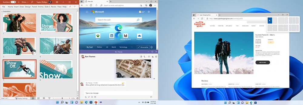 Zwei Screenshots von verschiedener Anordnungen von Inhalten auf einem Bildschirm