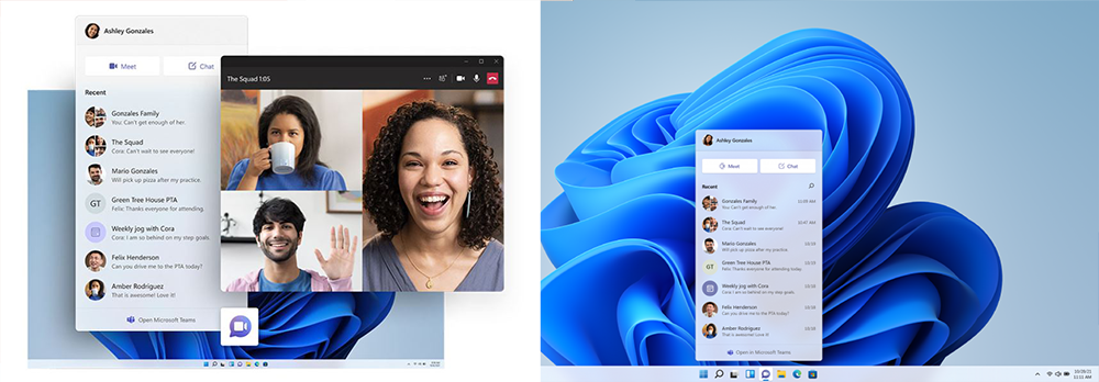 Two screenshots show the new display and usage options of Microsoft Teams with Windows 11