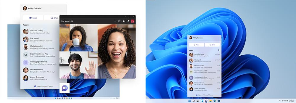 Zwei Screenshots zeigen die neue Darstellung und Nutzungsmöglichkeit von Microsoft Teams mit Windows 11