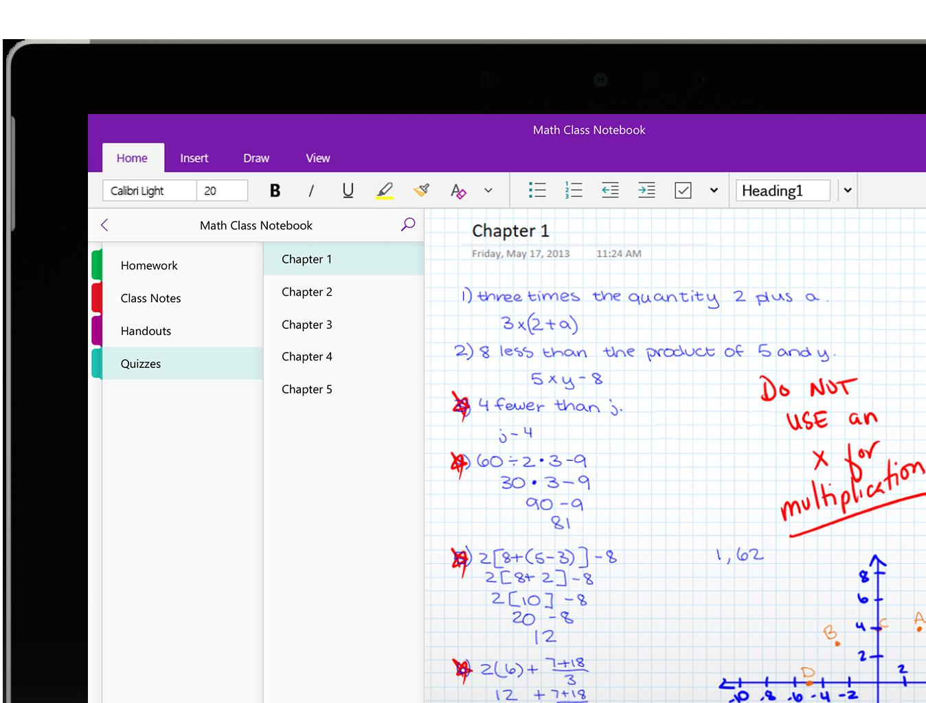 Screenshot of the OneNote class notebook