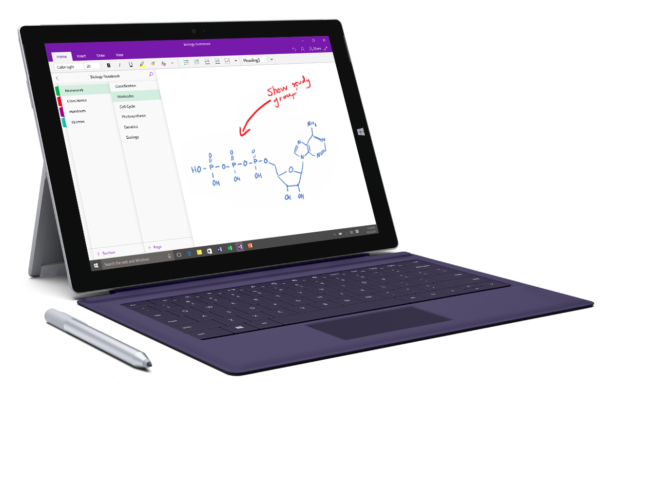 A Surface Pro with the OneNote class notebook opened
