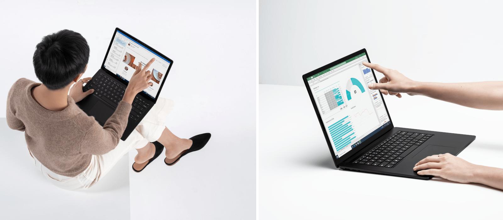 Das linke Bild zeigt eine Person aus der Vogelperspektive, die auf das Display des Surface Laptops tippt. Das rechte Bild zeigt einen Surface Laptop aus seitlicher Perspektive, auf dessen Bildschirm eine Hand tippt.