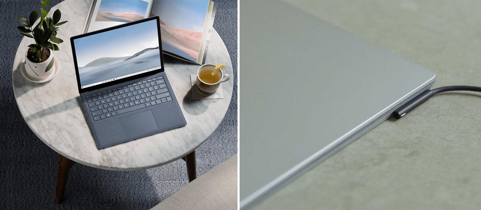 The picture on the left hand side shows a Surface Laptop 4, which is placed between a plant, a mug and a book on a table. The picture on the right hand side shows a detailed view on the plugged charging cable.
