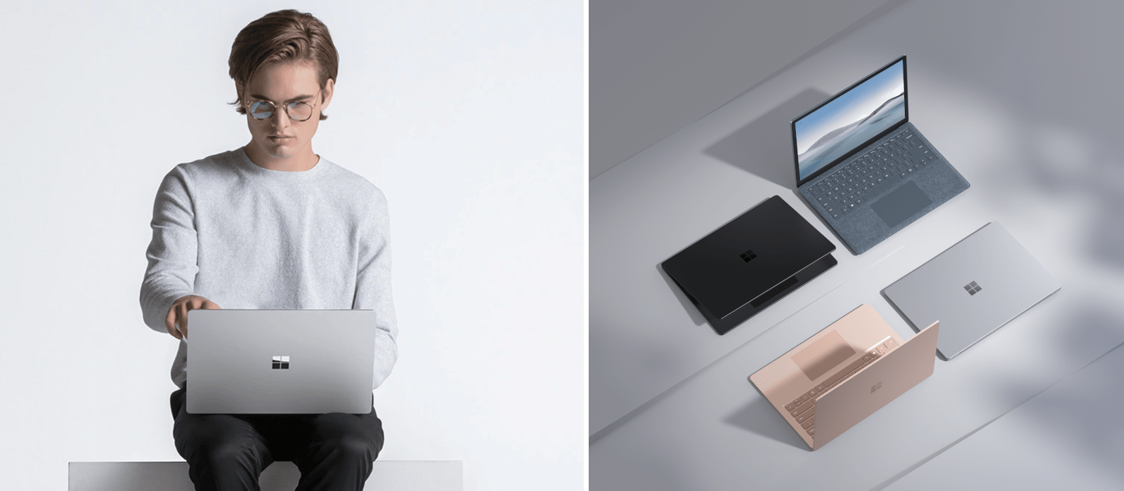 Auf dem linken Bild hat eine Personen einen Surface Laptop auf dem Schoß stehen und sie tippt auf dessen Display. Auf dem rechten Bild sind vier verschiedene Modellvarianten des Surface Laptops dargestellt.