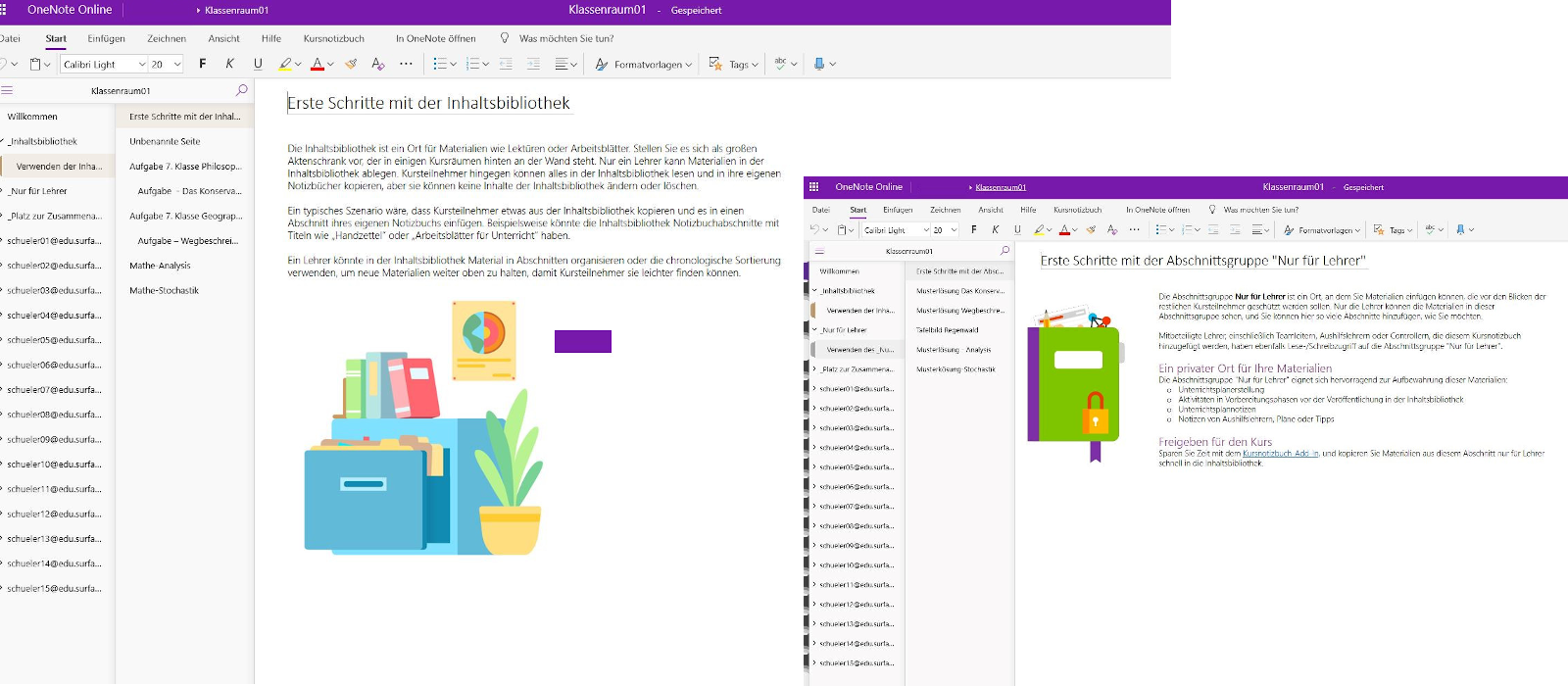 Two desktop windows show different examples of use in OneNote