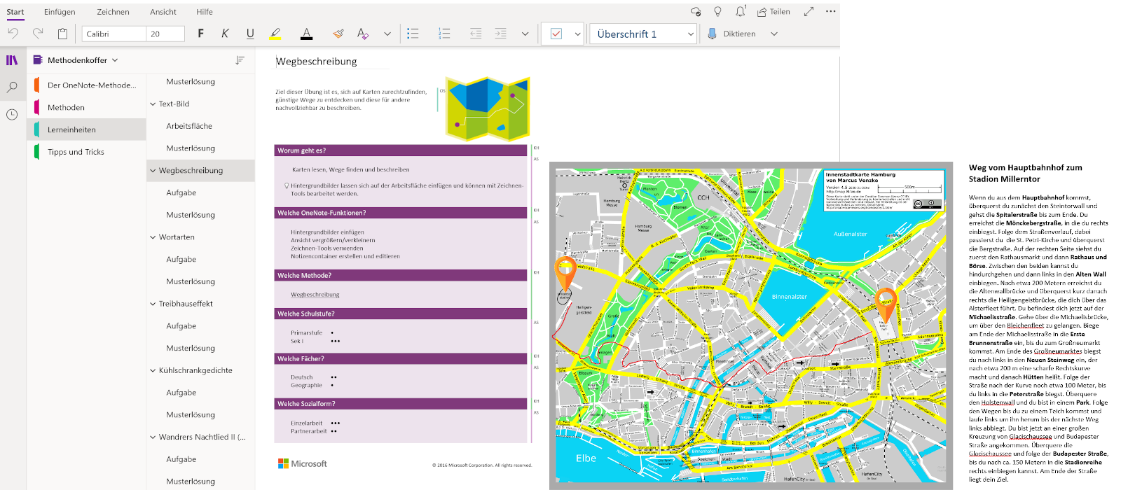 A task for directions is open in OneNote