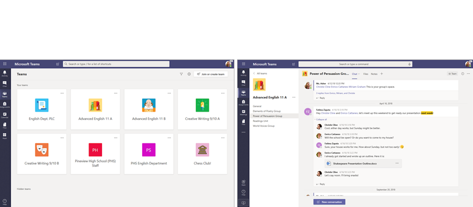 Two desktop windows show team and chat functions in Microsoft Teams