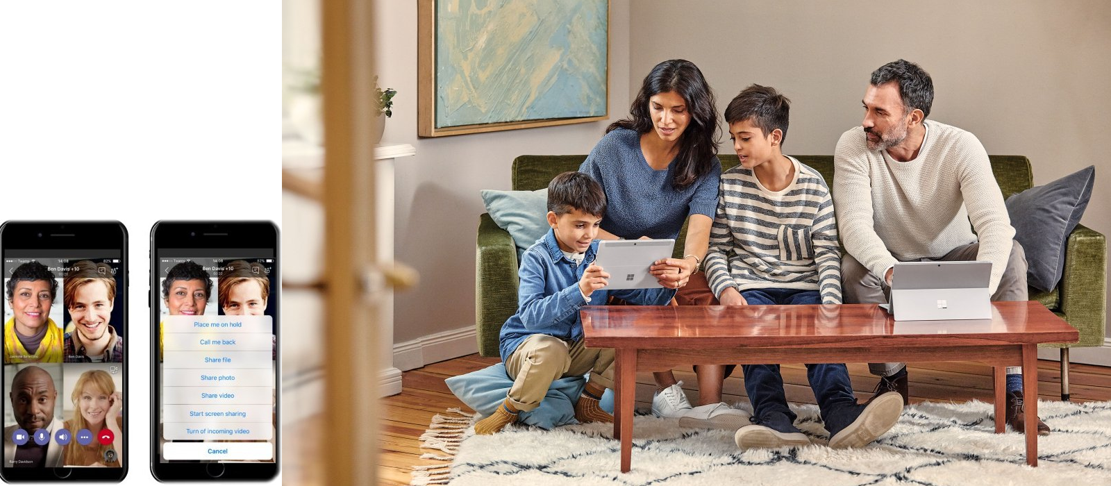 A family sits on the couch with two Surface Go and uses the mobile apps to communicate with others