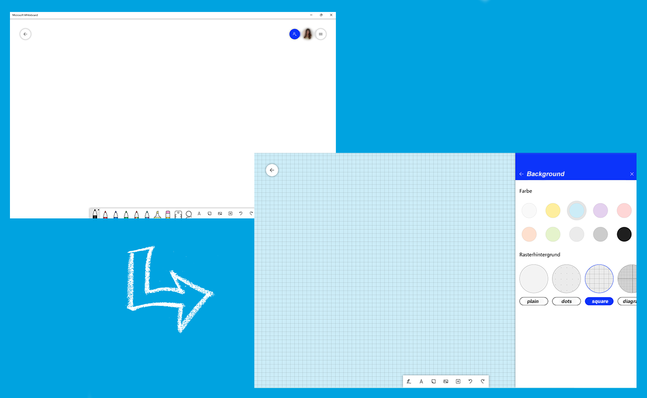 Zwei Screenshots zeigen wie das Microsoft Whiteboard individuell angepasst werden kann