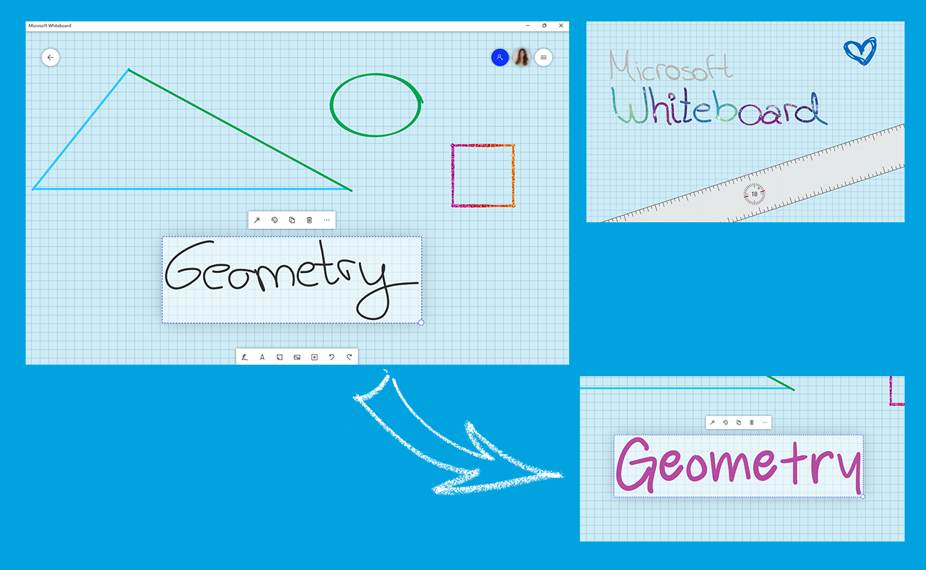 """Three screenshots show the possibilities of """"ink beautification"""" in Microsoft Whiteboard."""