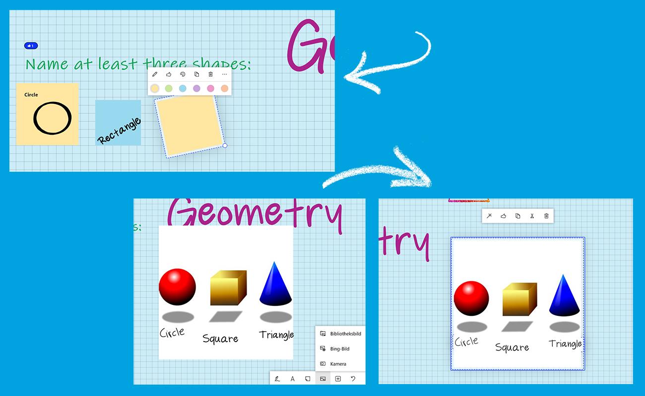 Drei Screenshots zeigen, wie Notizen und Bilder in Microsoft Whiteboard eingefügt werden können.