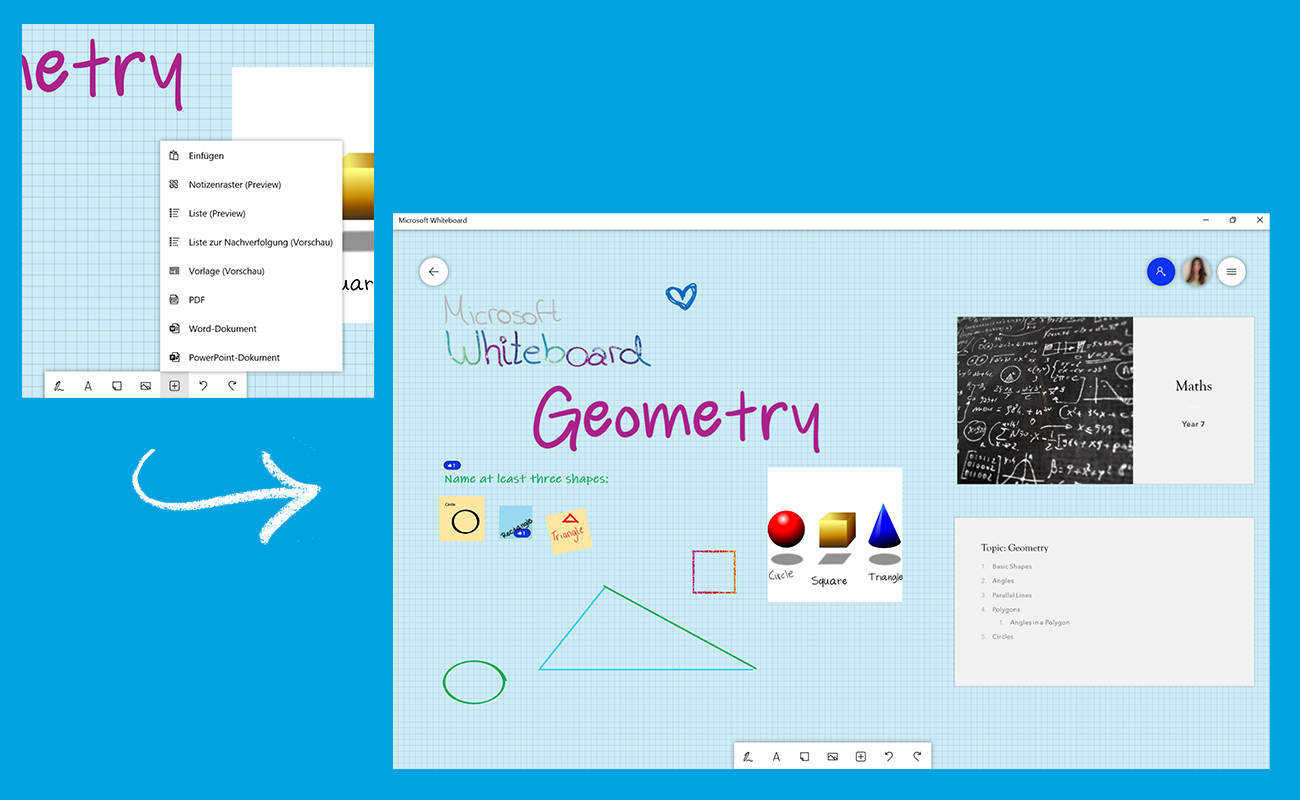 Zwei Screenshots zeigen, wie externe Inhalte in Microsoft Whiteboard eingefügt werden können.