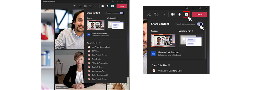 Two screenshots show the revised sharing environment during meetings