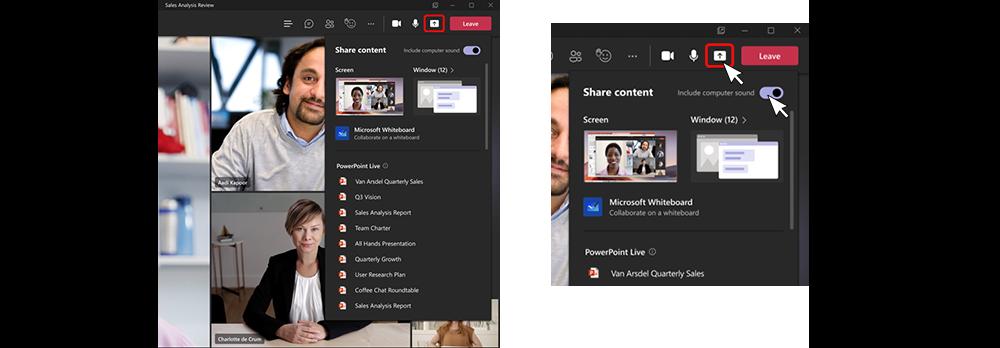 Zwei Screenshots zeigen die überarbeitete Freigabeumgebung während Besprechungen