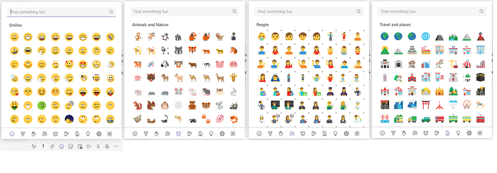 Four screenshots showing a selection of the new emojis in Microsoft Teams