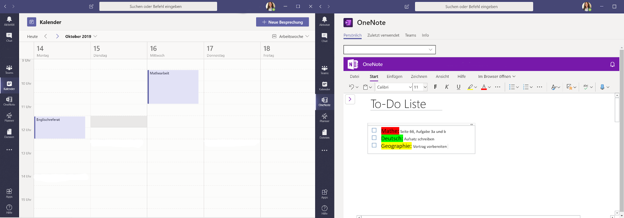 Calendar overview in Microsoft Teams and list creation in OneNote