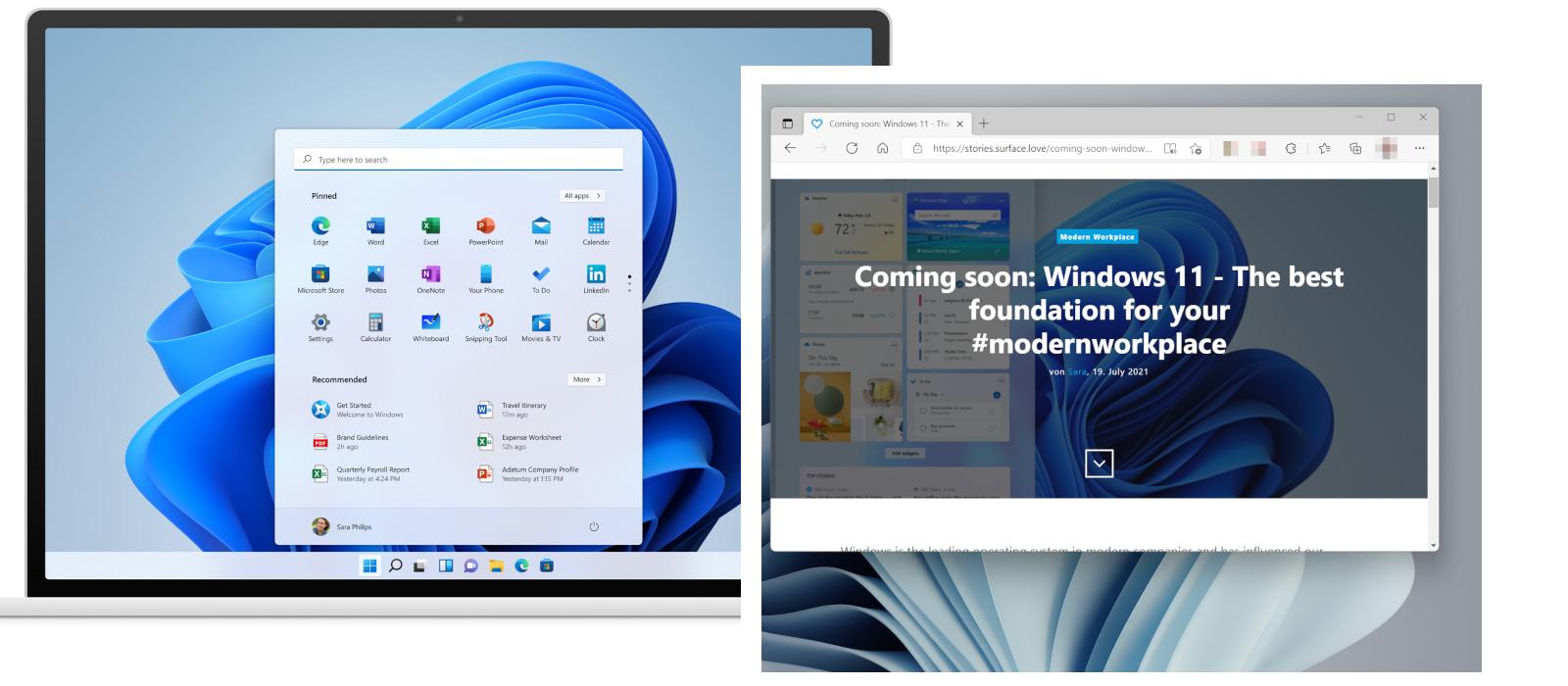 Ein Screenshot zeigt die Windows-Button Funktion und ein weiterer Screenshot zeigt einen Ausschnitt von Microsoft Edge