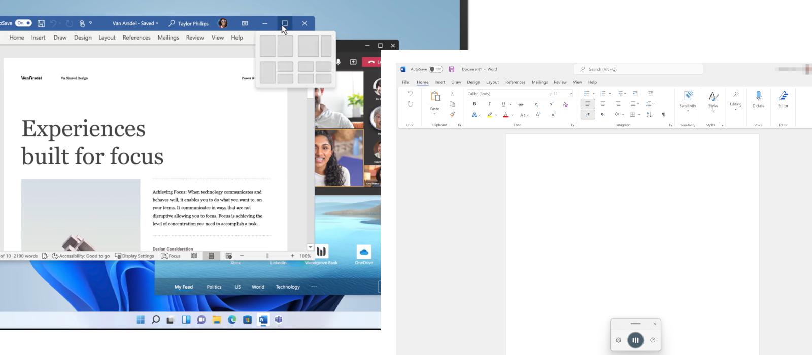 Zwei Screenshots zeigen die Funktionen der Snap-Ansicht und Voice Typing