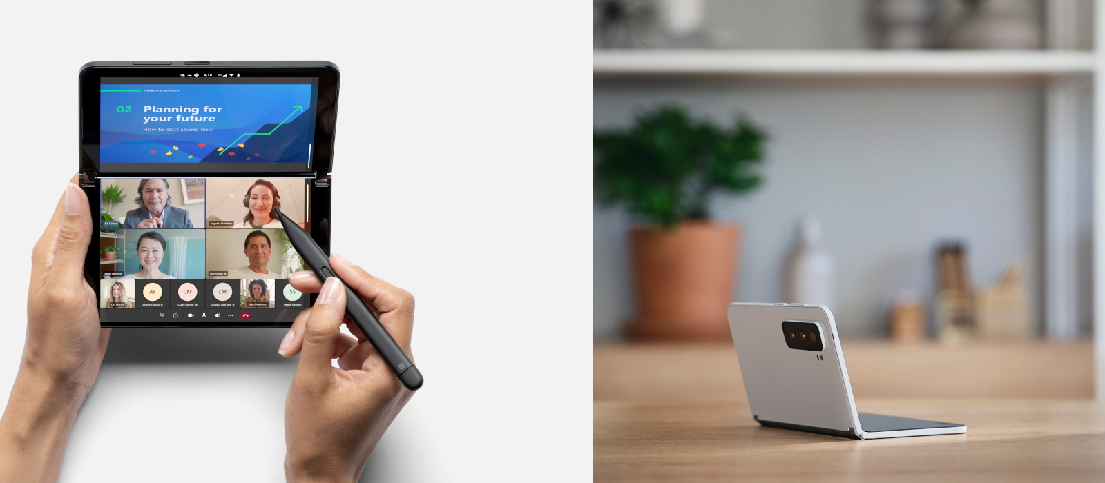 Two images show the new Surface Duo 2 in glacier and obsidian.