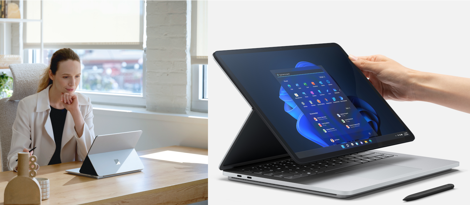 Two images show the Surface Laptop Studio in detail and in use.