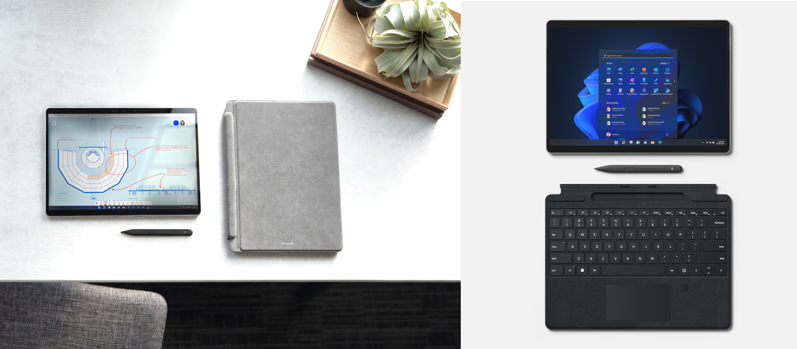 Two images show the new Surface Pro 8 plus the new Type Cover and Surface Slim Pen 2.