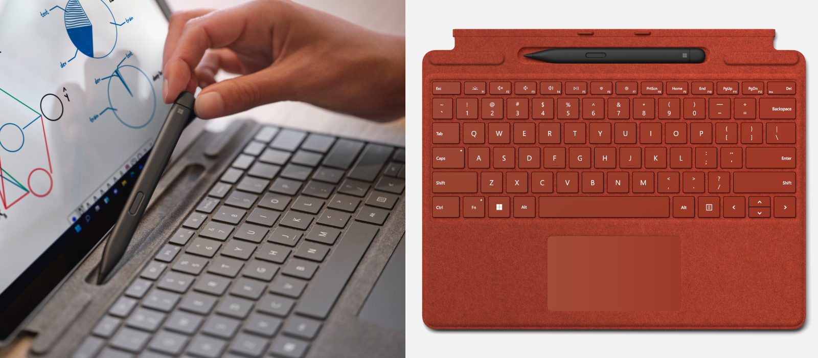 Two images show the Slim Pen 2 and the Surface Pro 8 Signature Keyboard.